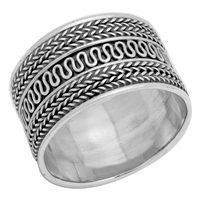 RPS1032 Silver Plain Thick Bali Band Ring