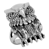 RPS1033 Silver Plain Big Owl Ring
