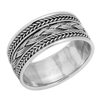 RPS1034 Silver Plain Thick Braided Bali Band Ring