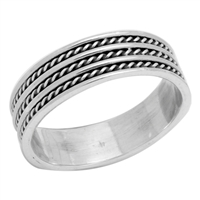 RPS1035 Silver Plain Rope Design Band Ring