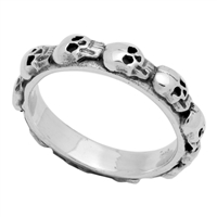 RPS1039 Silver Plain Skull Band Ring