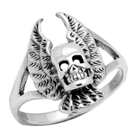 RPS1040 Silver Plain Skull with Wings Ring