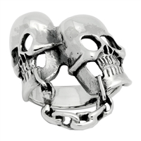 RPS1041 Silver Plain 2 Skull Chain Ring