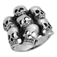 RPS1042 Silver Plain Skulls group Ring