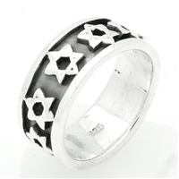 RPS1045 Silver Plain Star of David Band Ring