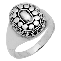 RPS1046 Silver Plain Oval Bali Ring