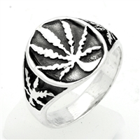 RPS1047 Silver Plain Marijuana Leaf Ring