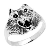 RPS1049 Silver Plain Wolf Face Ring
