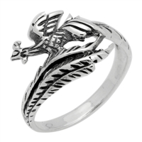RPS1051 Silver Plain Peacock Ring