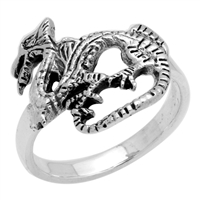 RPS1053 Silver Plain Dragon Ring