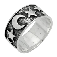 RPS1056 Silver Plain Oxidize Moon Star Ring