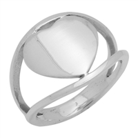 RPS1057 Silver Plain Heart Plain Ring