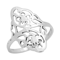 RPS1065 - Sterling Silver Long Filigree Ring