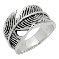RPS1066 Silver Plain Wrap Leaf Ring