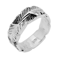 RPS1067 Silver Plain Feather Band Ring