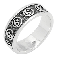 RPS1069 Silver Plain Oxidize Yin yang Band Ring