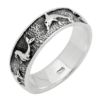 RPS1070 Silver Plain Oxidize Dolphin Band Ring