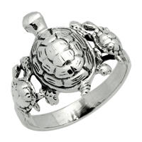RPS1071 Silver Plain 3 Turtles Family Ring