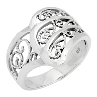 RPS1072 Silver Plain Filigree Wavy Design Ring