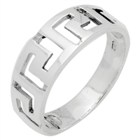 RPS1073 Silver Plain Greek Cut out Band
