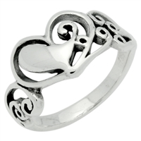 RPS1074 Silver Plain Filigree Heart Ring
