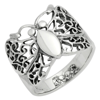 RPS1075 Silver Plain Filigree Butterfly Ring