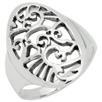 RPS1076 Silver Plain Filigree Oval hieroglyphics Ring
