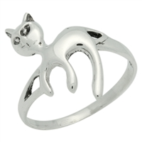 RPS1079 Silver Plain Cat Ring