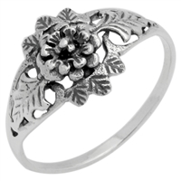 RPS1080 Silver Plain Simple Flower Ring