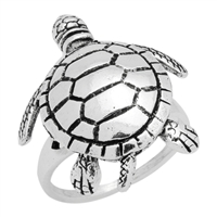 RPS1082 Silver Movable Big Sea Turtle Ring