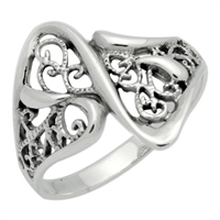 RPS1083 Silver Wavy Filigree Ring