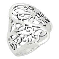 RPS1085 Silver Oval Swirl Filigree Vines Ring 23mm