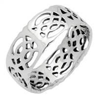 RPS1087 Silver Celtic Design band 8mm