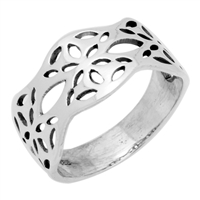RPS1090 Silver Wavy Flower Band Ring