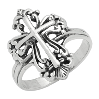 RPS1091 Silver Filigree Cross Ring