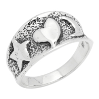 RPS1092 Silver Star Heart Moon Ring