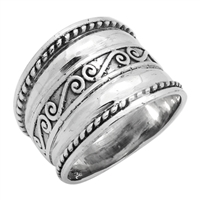 RPS1098 Silver Wide Bali Design Ring 17mm