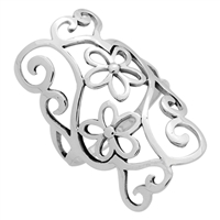 RPS1099 Silver Long Cut out Flowers Ring 32mm