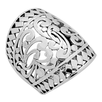 RPS1100 Silver Cut Out Wide Filigree Dome Style Ring 28mm
