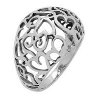 RPS1101 Silver Cut Out Hearts Dome Ring 17mm