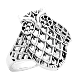 RPS1103 - Sterling Silver Filigree Owl Ring -Small