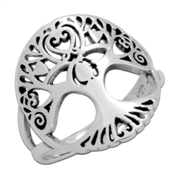 RPS1104 - Sterling Silver Filigree Rounded Tree of Life Ring