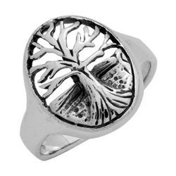 RPS1107 - Sterling Silver Filigree Oval Tree of Life Ring