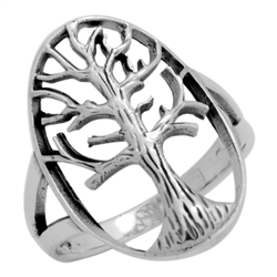 RPS1108 - Sterling Silver Filigree Oval Tree of Life Ring