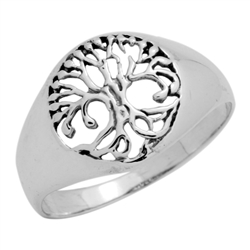 RPS1110 - Sterling Silver Filigree Rounded Tree of Life Ring