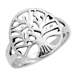 RPS1111 - Sterling Silver Filigree Rounded Tree of Life Ring