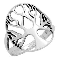 RPS1112 - Sterling Silver Filigree Oval Tree of Life Ring