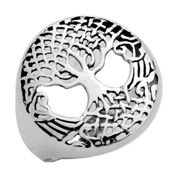 RPS1114 - Sterling Silver Filigree Round Tree of Life Ring