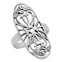 RPS1117 - Sterling Silver Long Filigree Ring