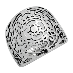 RPS1118 - Sterling Silver Long Filigree Ring